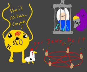 Jake the Dog Bows Before Satan