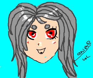 An anime girl with grey hair and red eyes