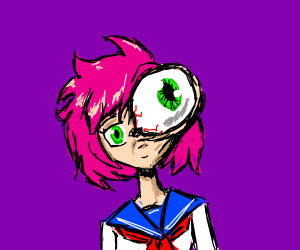 Anime girl in sailor outfit with a giant eye