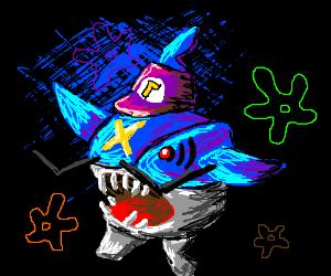Sharpedo w/ Waluigi hat w/ Spongebob bkgrd