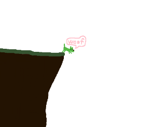 Green dog jumps off cliff