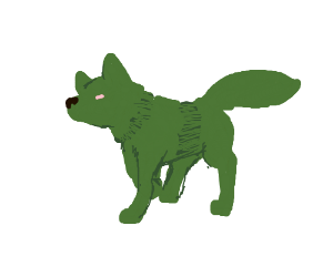 green wolf with pink eye