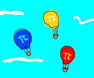 Red yellow & blue Pi balloons in the sky