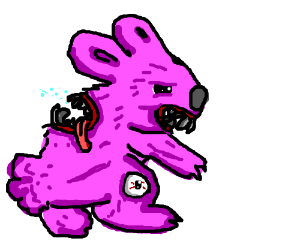 Purple bunny with weird medical condition