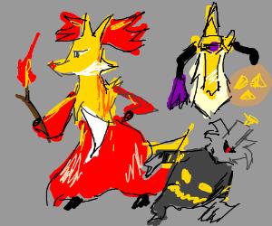 Delphox, Dusknoir, and Aegislash