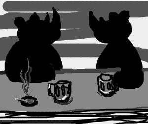 Two rhinos in a bar