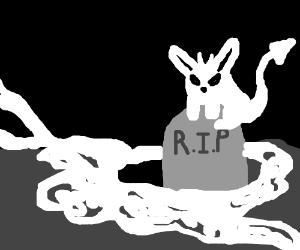 The bunny demon haunts gravestones.