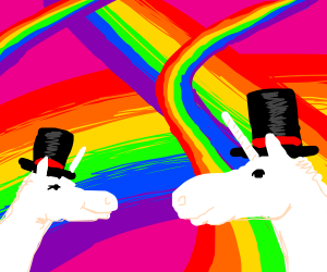 Rainbows! And Unicorns wearing Tophats!