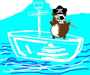 Hamster pirate in glass ship