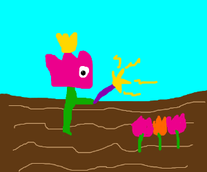 Lonely Flower using magic to grow friends