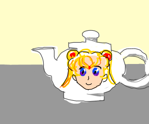 Sailor Moon's head on a teapot