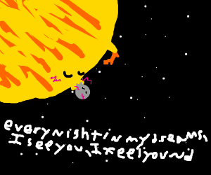 Moon and star kiss; lyrics in background