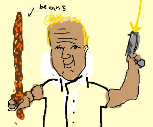 Master Chef with a bean sword and a pistole