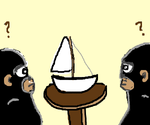 Two apes look at model boat
