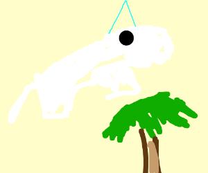 unicorn flies over palm tree!