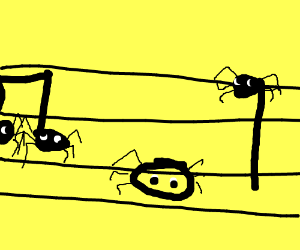 Musical notes made out of spiders