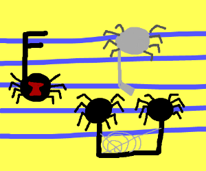 Music note spiders
