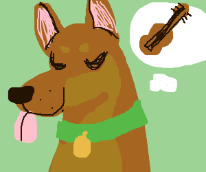dog dreams of playing the guitar