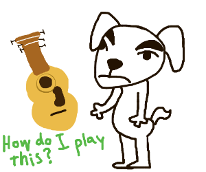 Dog learns to play guitar