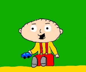 Stewie plays with a toy car!
