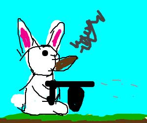Mafia bunny holding a tommy gun, smoking cigar