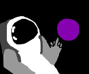 Astronaut shows middle finger at violet planet