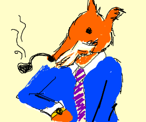 Snazzy fox smokes a pipe and checks the time