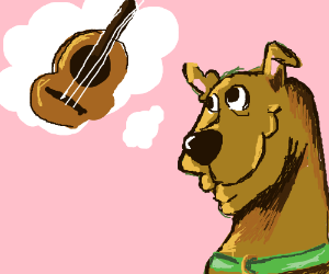 scooby doo thinks about a guitar