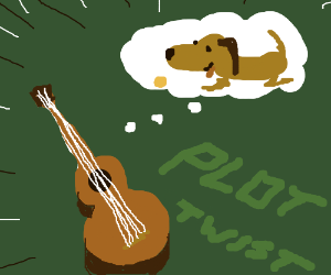 dog thinks about guitar