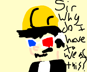 man with a hard hat and 3D glasses