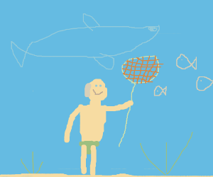Guy under the sea with a net