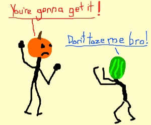 Pumpkin man threatening someone