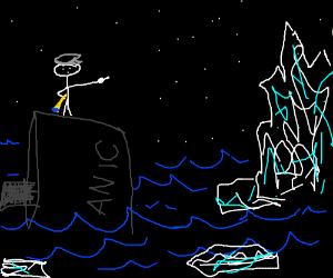 captain of the titanic points to iceberg