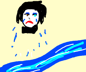 Marilyn Manson crying a river.