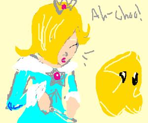 Rosalina sneezing on Luma