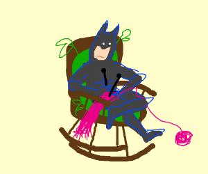 Batman knits himself a pink scarf