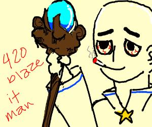 Bald wizard gets high