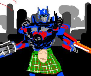 Optimus Prime wears a kilt.