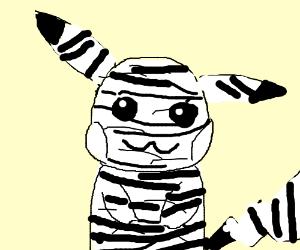 a pikachu with zebra colors