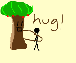 A tree hugging a person
