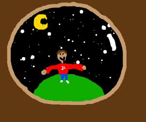 Grand starry sky and child through fisheye len