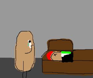 Potato mourns fallen potato friend.