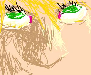 blonde hair green eye girl drawing by osudaira drawception