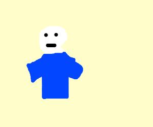 Skeleton man wearing a blue shirt