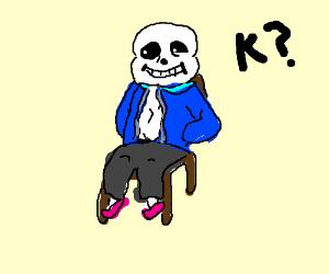 Sans sitting on a chair