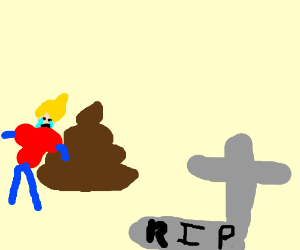 a kid and a pile of poo cry over a dead person