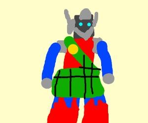Transformer robot with a kilt
