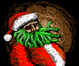 Alternate universe Santa has worms for a beard