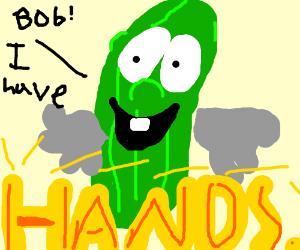 Happy gloved Cucumber man.