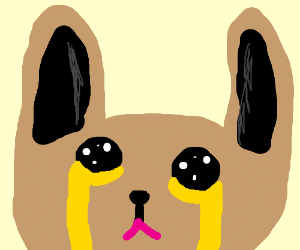 Brown bunny cries yellow tears with pink lips